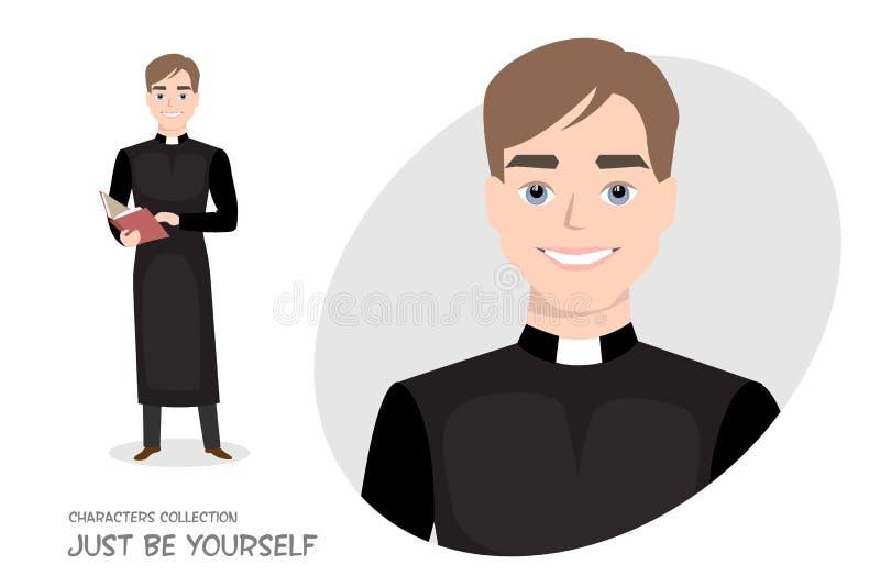 Priester in soutane met een Bijbel in beeldverhaalstijl stock illustratie