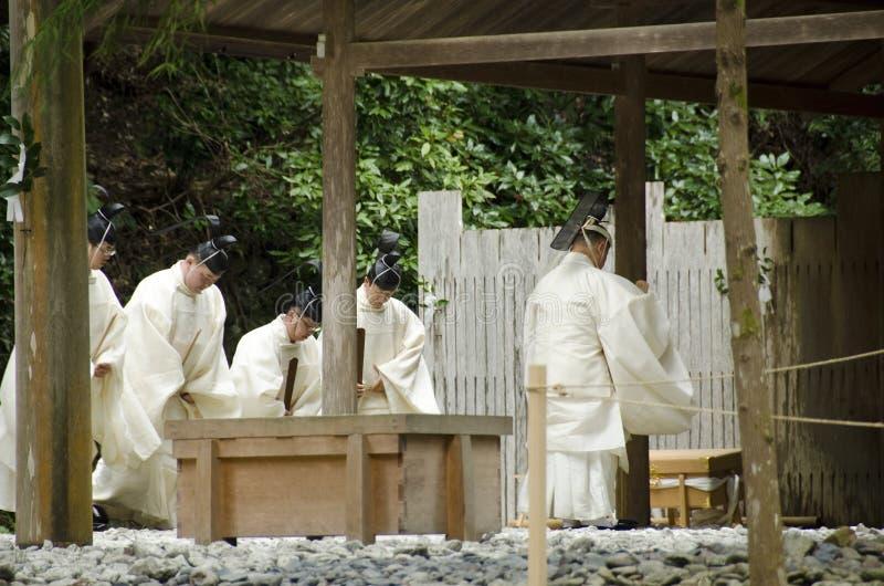 Priesters in Toyoukedaijingu royalty-vrije stock fotografie