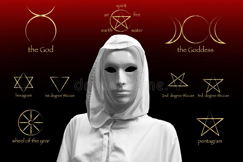 Priestess of red magic, sorcerers with magical mask occult Masonic Lodge. Golden Set of Witches runes, wiccan divination symbols. stock photo