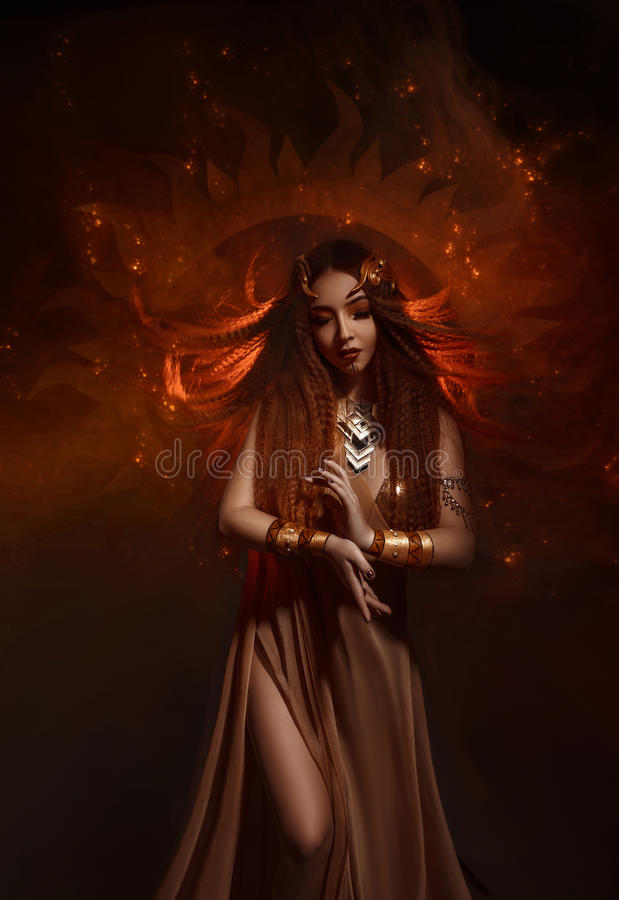 Priestess of the sun stock image