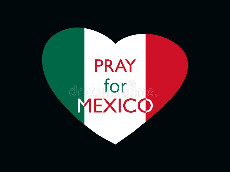Priez pour le Mexique Tremblement de terre Coeur avec le drapeau du Mexique, catastrophe naturelle Vecteur illustration libre de droits