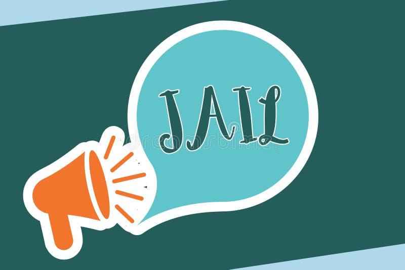 Prigione del testo di scrittura di parola Concetto di affari per il posto per la relegazione della gente accusata e condannata di illustrazione di stock