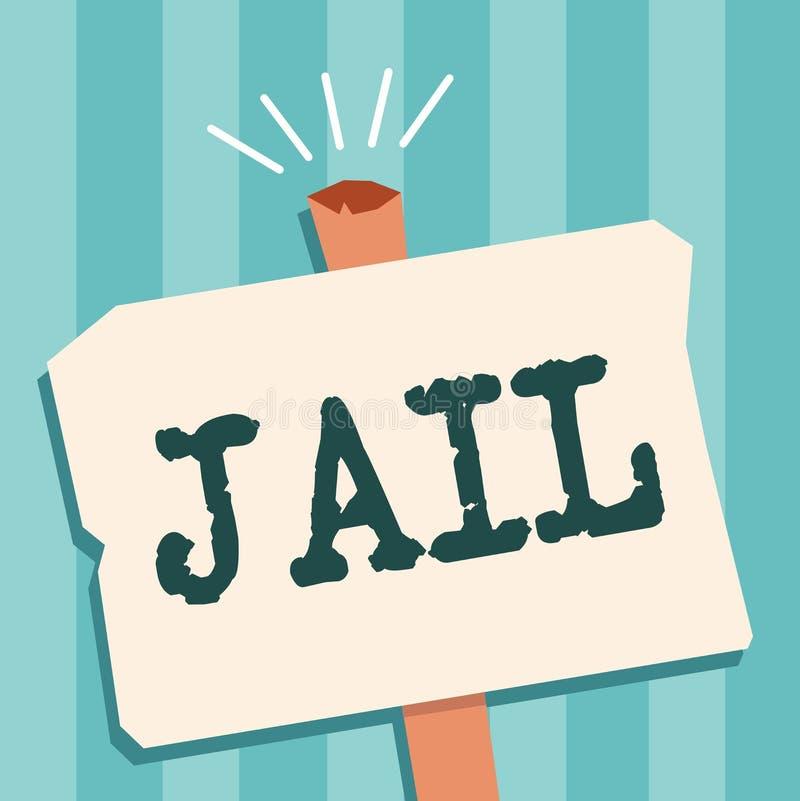 Prigione del testo di scrittura di parola Concetto di affari per il posto per la relegazione della gente accusata e condannata di illustrazione vettoriale