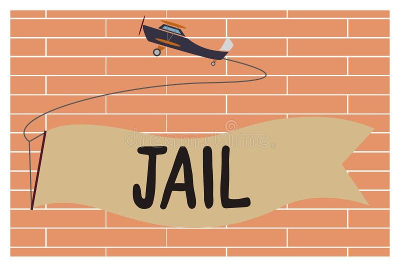 Prigione di scrittura del testo della scrittura Posto di significato di concetto per la relegazione della gente accusata e condan royalty illustrazione gratis