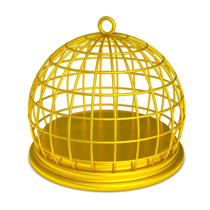 Prigione dorata dell'oro del Birdcage isolata royalty illustrazione gratis
