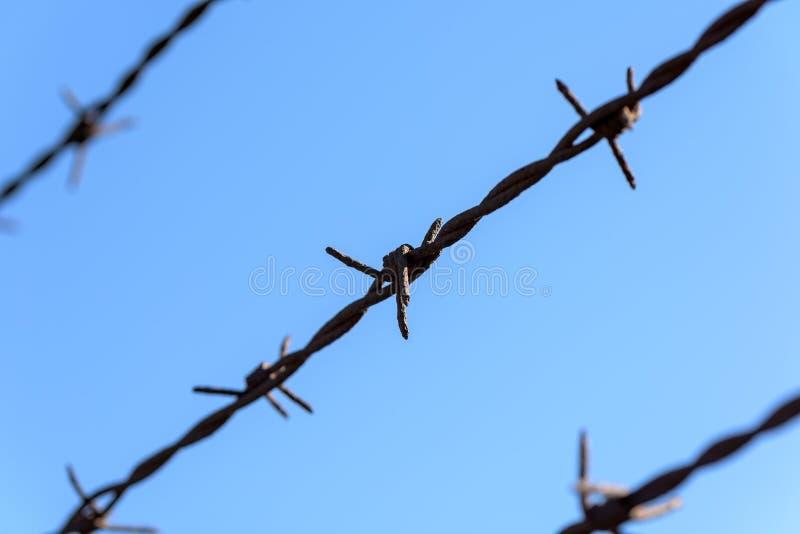 Prigione Rusty Barbed Wire fotografia stock