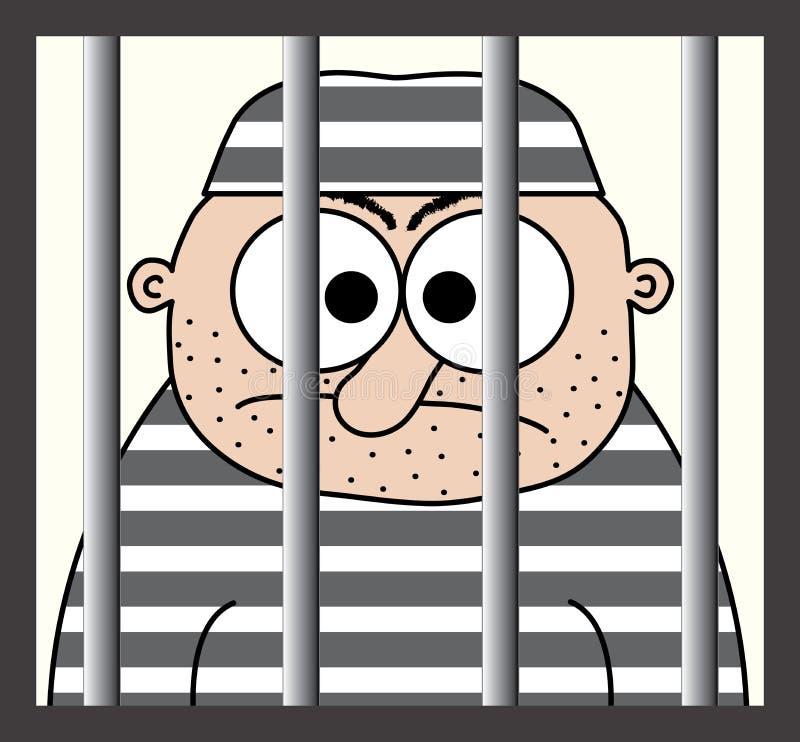 Prigioniero del fumetto dietro le barre illustrazione vettoriale