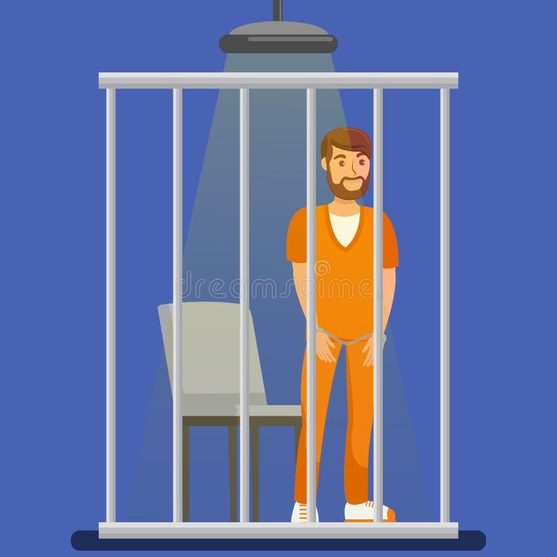 Prigioniero dietro l'illustrazione di vettore delle barre di metallo illustrazione di stock