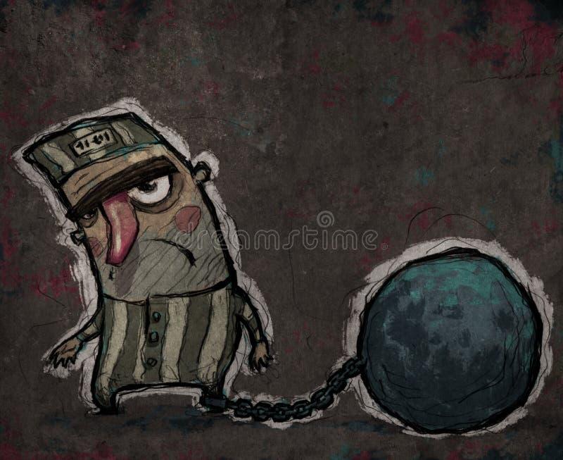 Prigioniero Con Una Palla Di Metallo Enorme Fotografie Stock