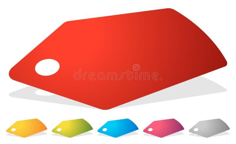 Prijskaartje, etiketpictogram in verscheidene kleuren Verkoop, bevordering, marke stock illustratie
