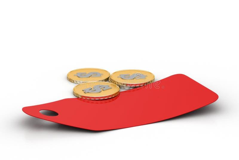 Prijskaartje met gouden muntstuk vector illustratie