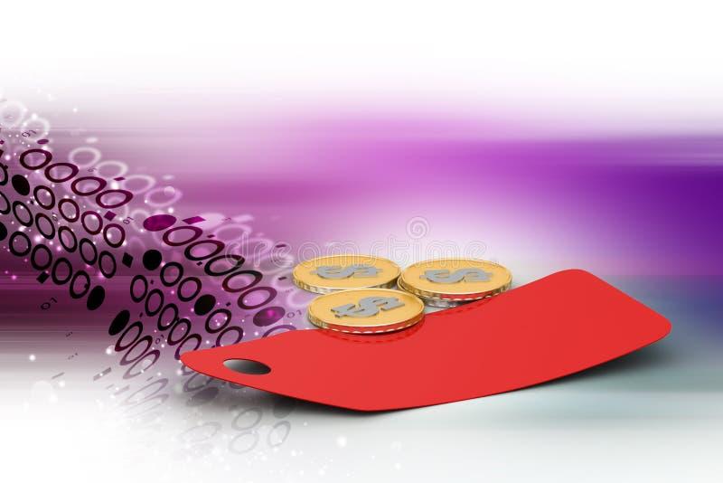 Prijskaartje met gouden muntstuk royalty-vrije illustratie