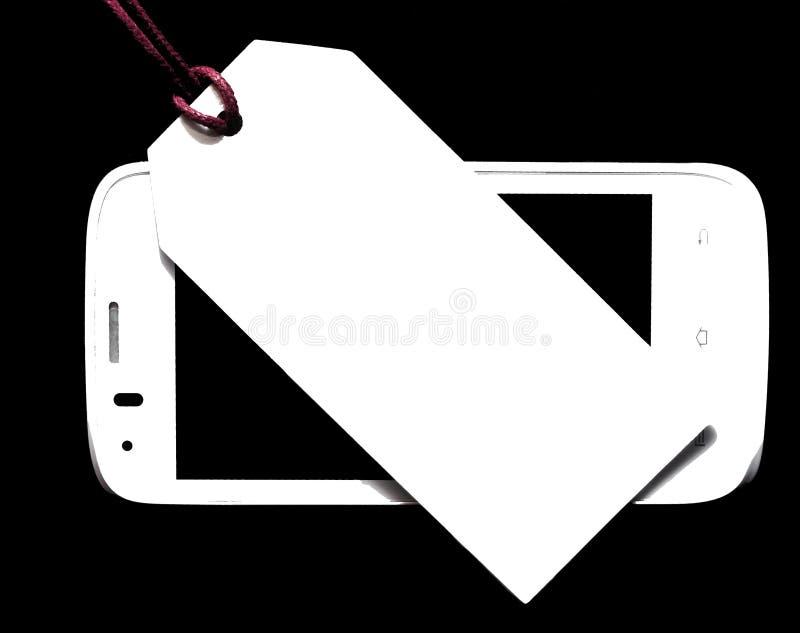Prijskaartje met mobiele telefoon op houten achtergrond Lege markering royalty-vrije stock foto