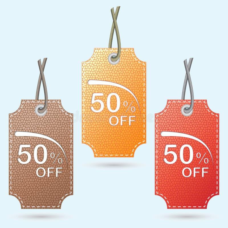 Prijslijsten, markeringen voor kortingen, verkoop, aanbiedingen Vector vector illustratie