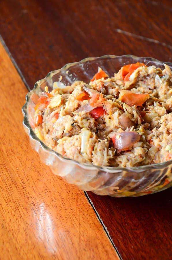 Prik del nam de la cocina o goma tailandés del chile con las diversas verduras fotografía de archivo