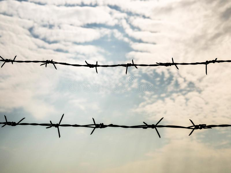 Prikkeldraad op hemelachtergrond Concept met exemplaarruimte voor beperkt gebied, opsluiting, vrijheid stock foto's