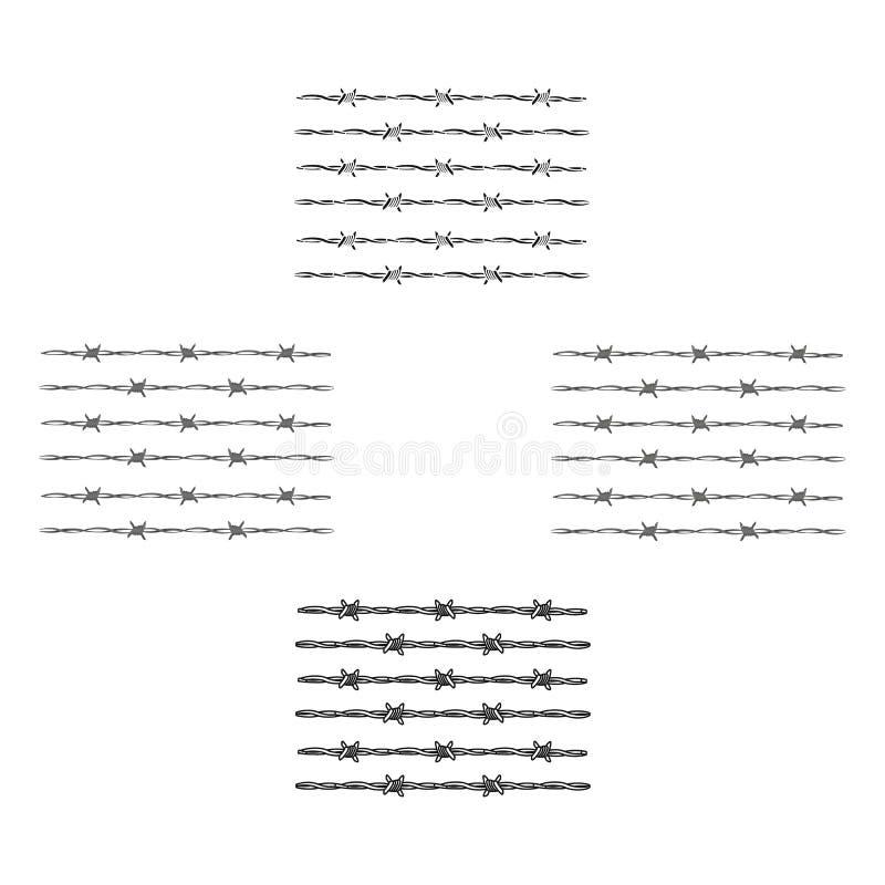 Prikkeldraad voor het vasthouden van misdadigers in gevangenis Een omheining in gevangenis Gevangenis enig pictogram in beeldverh vector illustratie