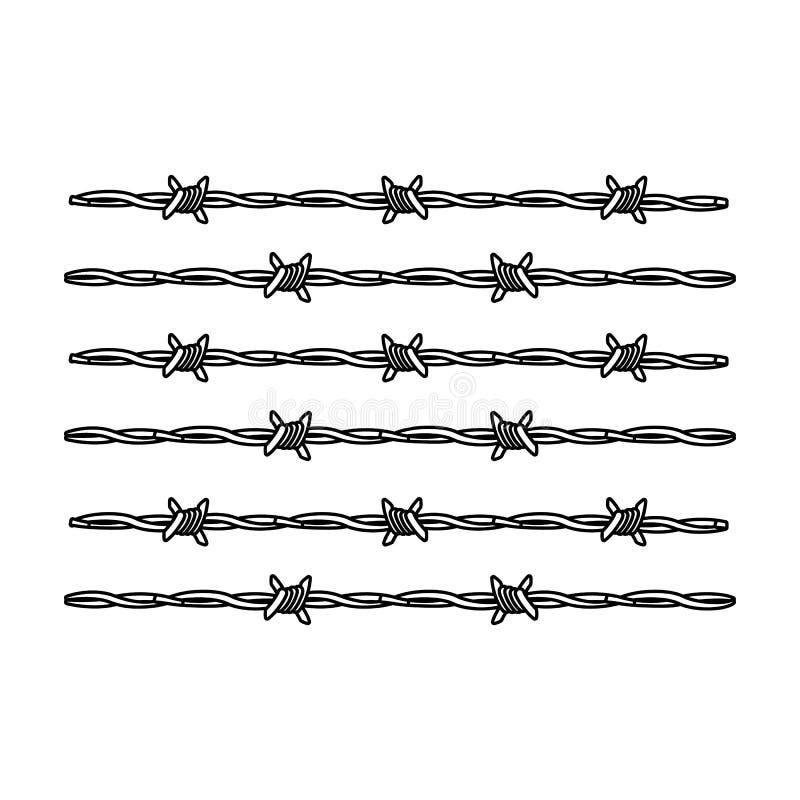 Prikkeldraad voor het vasthouden van misdadigers in gevangenis Een omheining in gevangenis Gevangenis enig pictogram in vector he stock illustratie