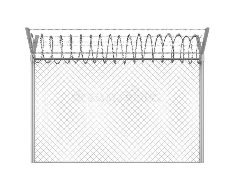 Prikkeldraadomheining Isolated stock illustratie