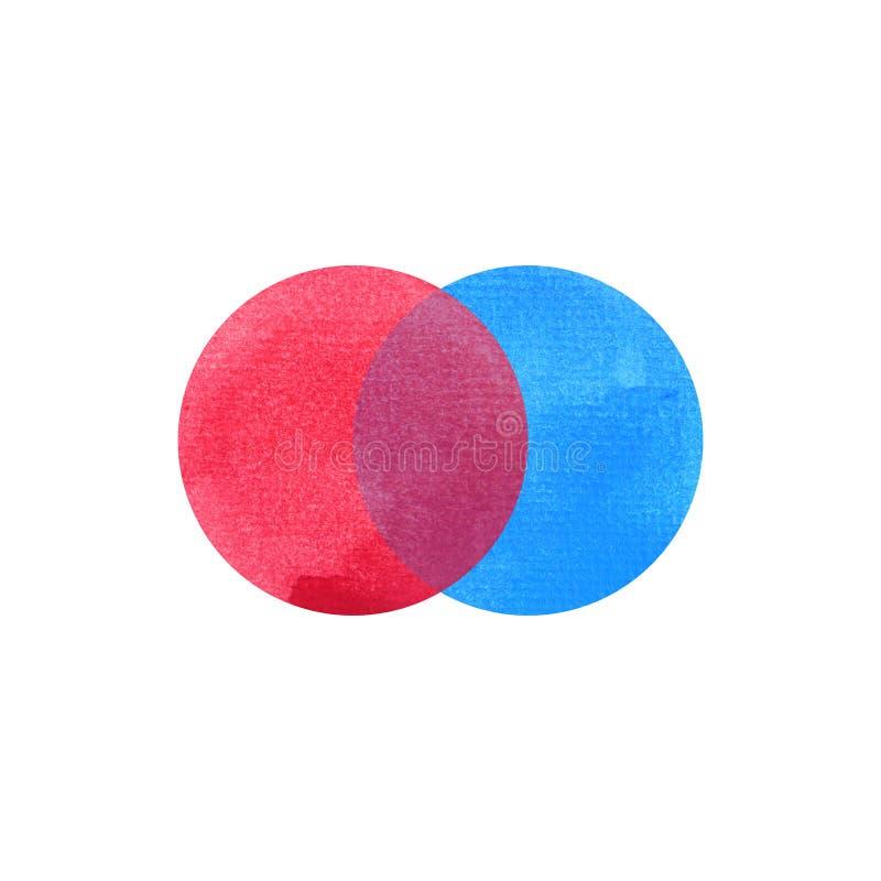 2 primära färger, blå röd runda för vattenfärgmålningcirkel royaltyfria bilder
