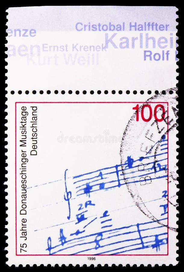 Prim-Darstellung; Autogramm von Michael Bach Bachtischa, 75. Jahrestag von Donaueschingen-Musik-Festival serie, circa 1996 lizenzfreie stockbilder