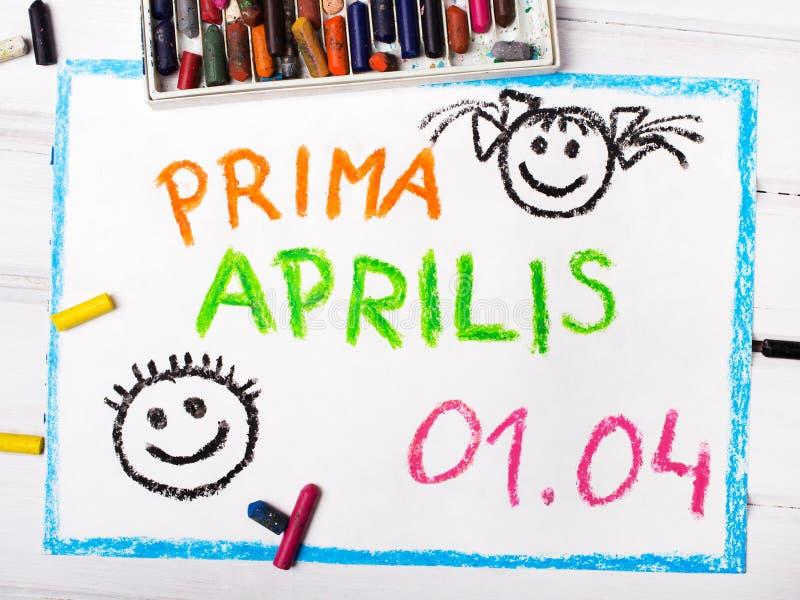 Prima Aprilis come nome del giorno di un pesce d'aprile in Polonia illustrazione vettoriale
