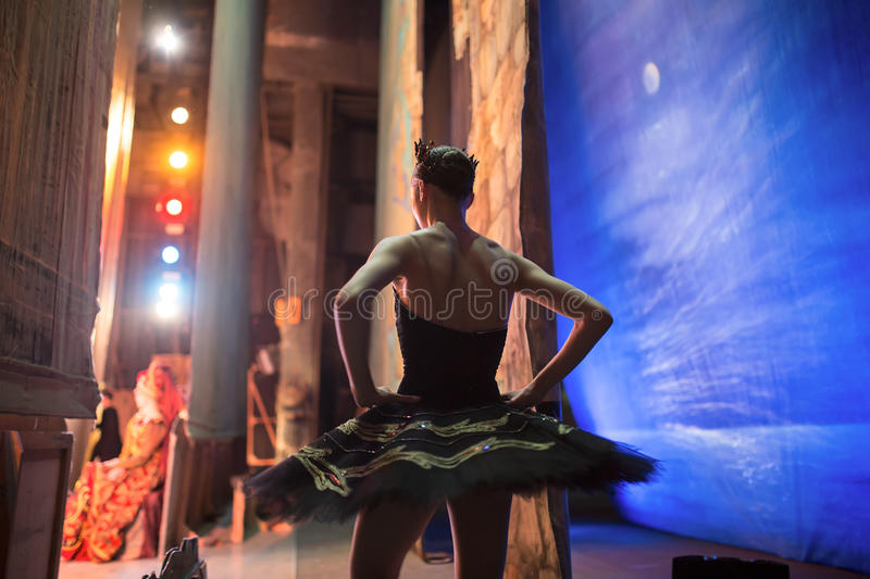 Prima ballerina standing backstage royalty free stock photography