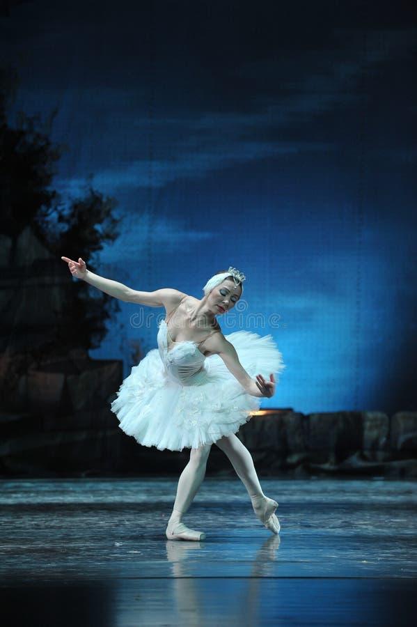 Prima Ballerina Staring na reflexão na água fotografia de stock royalty free