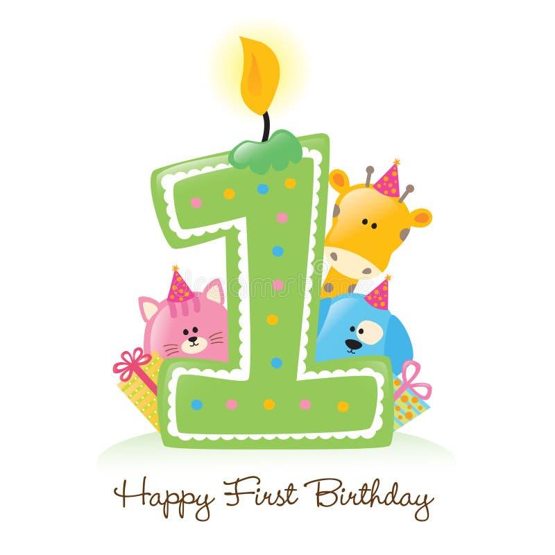 Prima candela felice di compleanno illustrazione vettoriale