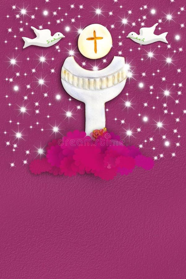 Prima carta di comunione santa per una ragazza nel rosa royalty illustrazione gratis