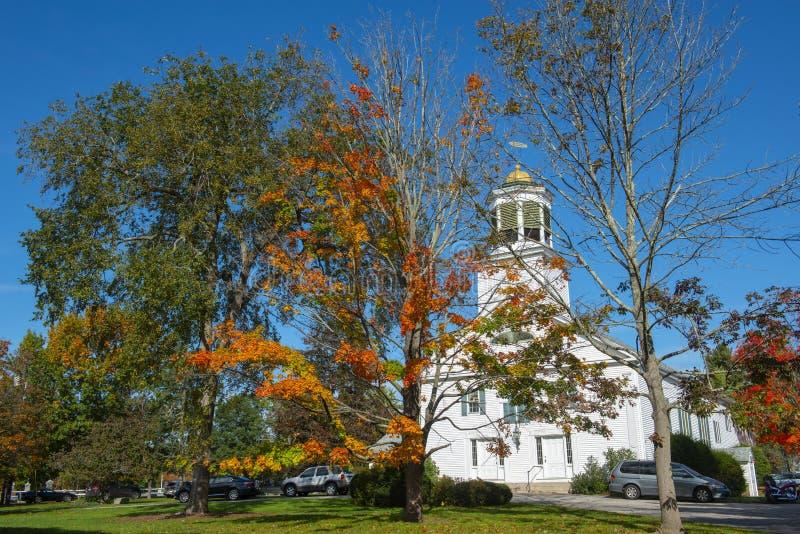 Prima chiesa di Merrimack in Merrimack, NH, U.S.A. fotografia stock