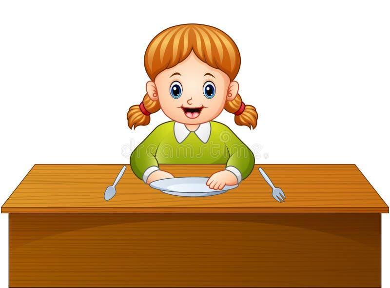 Prima colazione aspettante del fumetto sveglio della bambina sul tavolo da pranzo illustrazione vettoriale