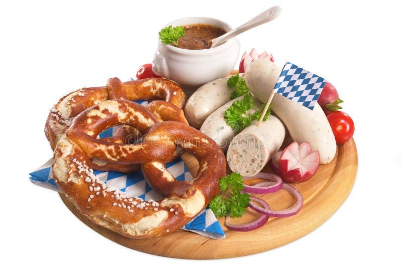 Prima colazione bavarese della salsiccia del vitello immagine stock