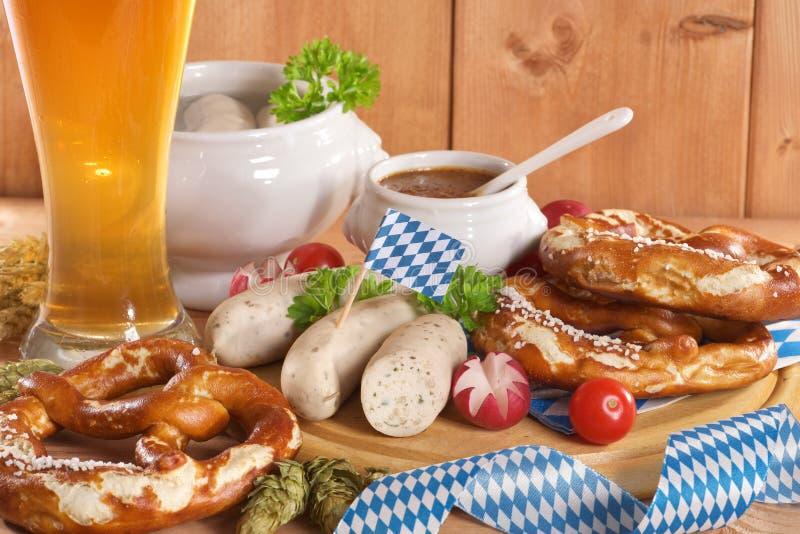 Prima colazione bavarese della salsiccia del vitello immagine stock libera da diritti