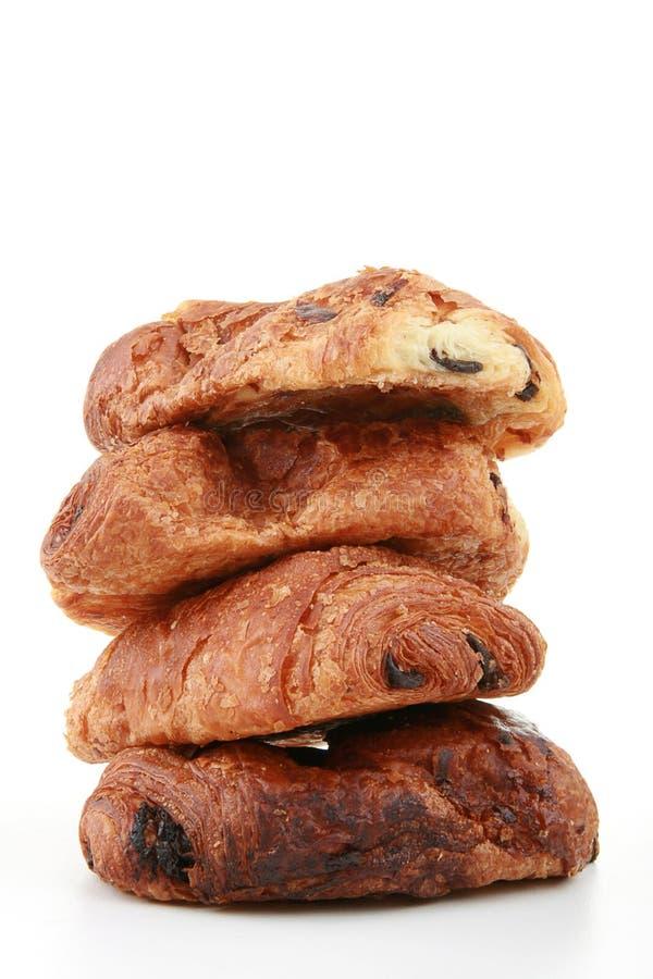 Prima colazione, croissant del cioccolato immagini stock libere da diritti