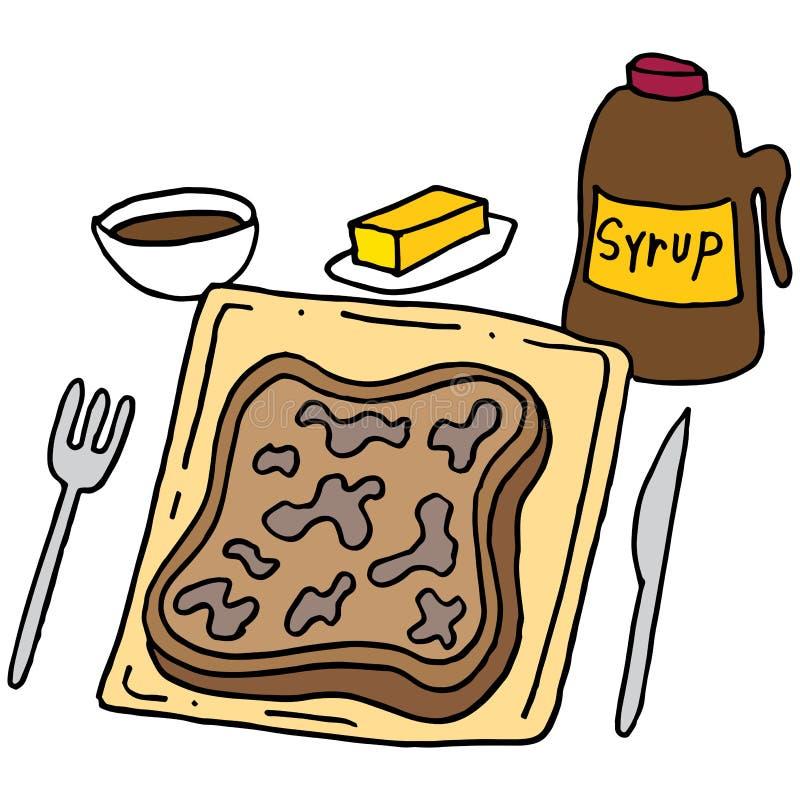Prima colazione del pane inzuppato in latte/uova e zucchero e fritto in padella illustrazione vettoriale