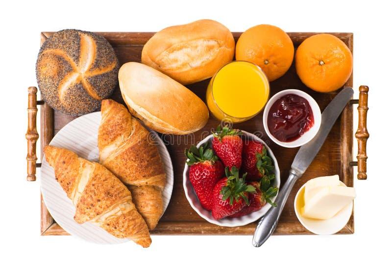 Prima colazione deliziosa con i croissant freschi immagine stock libera da diritti