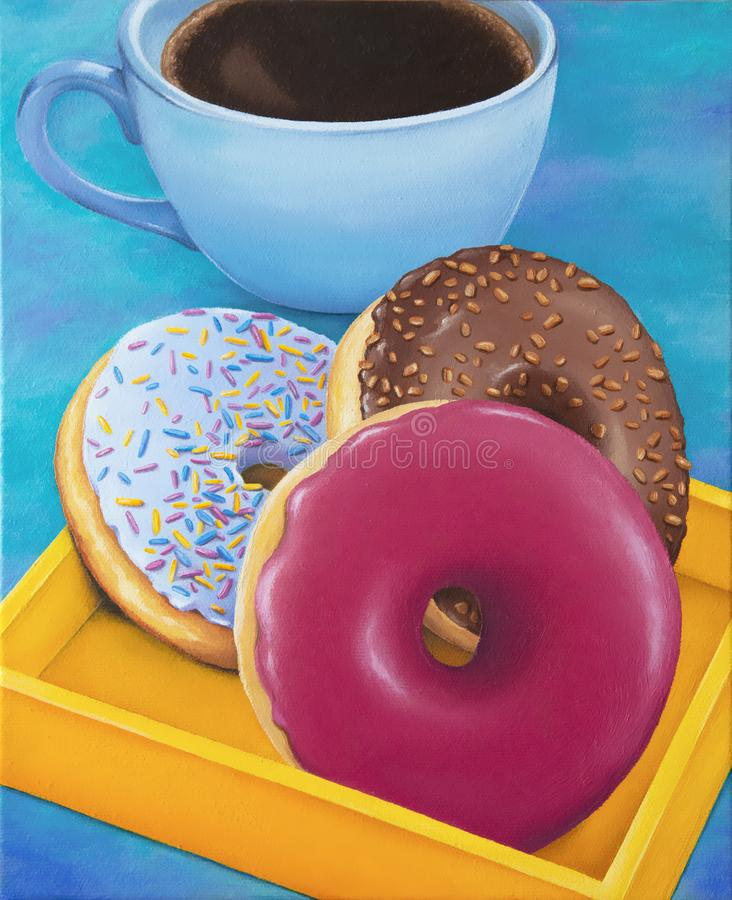 Prima colazione della tazza di caffè e delle guarnizioni di gomma piuma, pittura a olio originale di natura morta su tela immagine stock libera da diritti