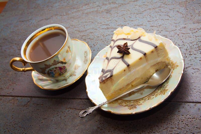 Prima colazione della torta di formaggio e del caffè fotografia stock