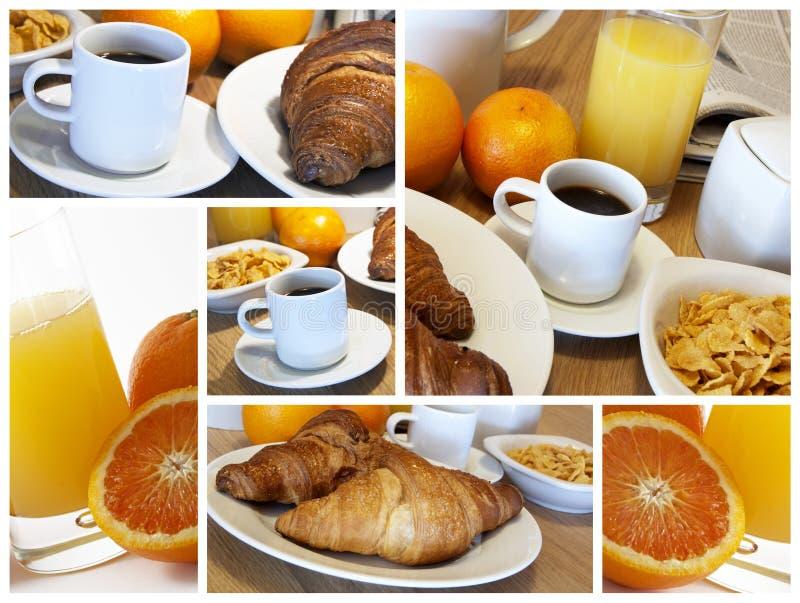 Prima colazione italiana - collage immagini stock libere da diritti