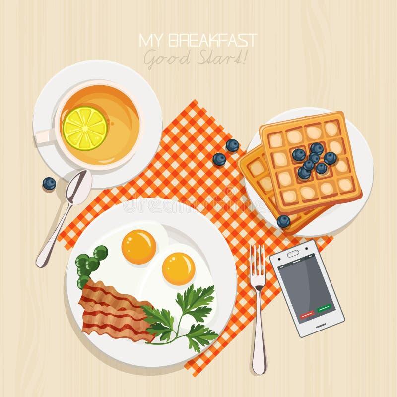 Prima colazione messa con tè illustrazione di stock