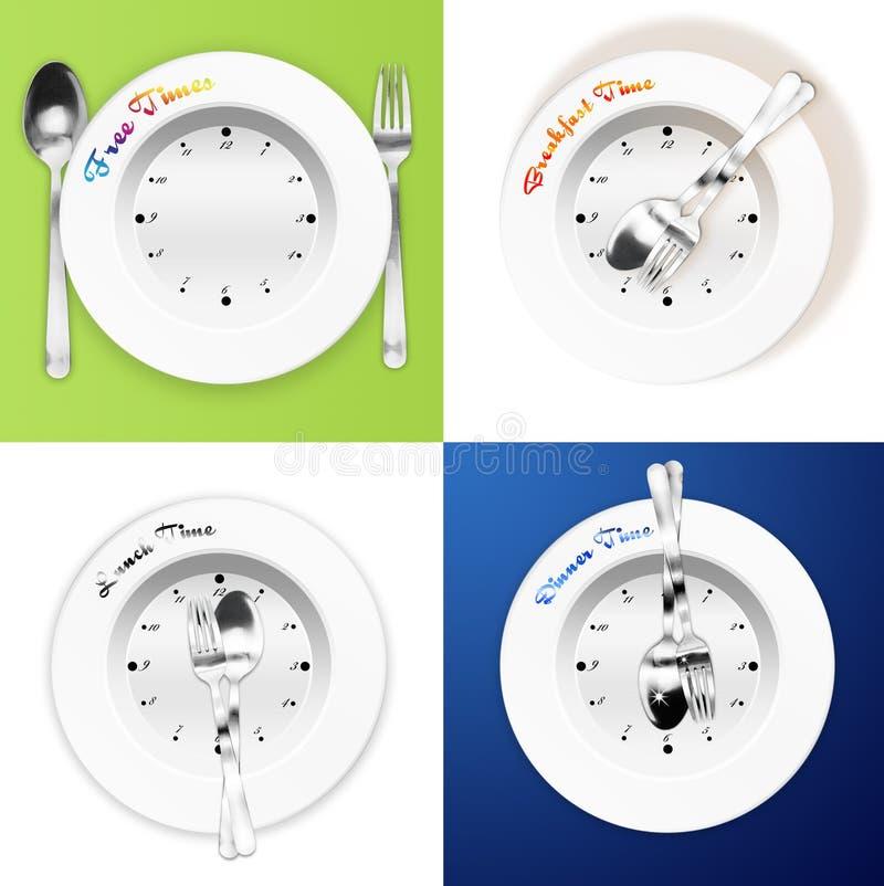 Prima colazione, pranzo, concetto di tempo di pranzo illustrazione di stock