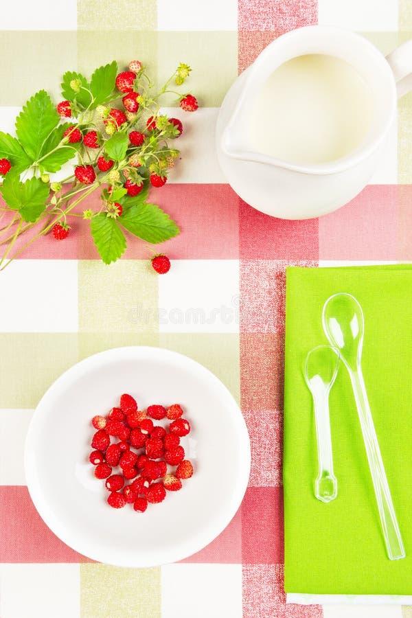Prima colazione sana con la fragola ed il latte immagini stock libere da diritti