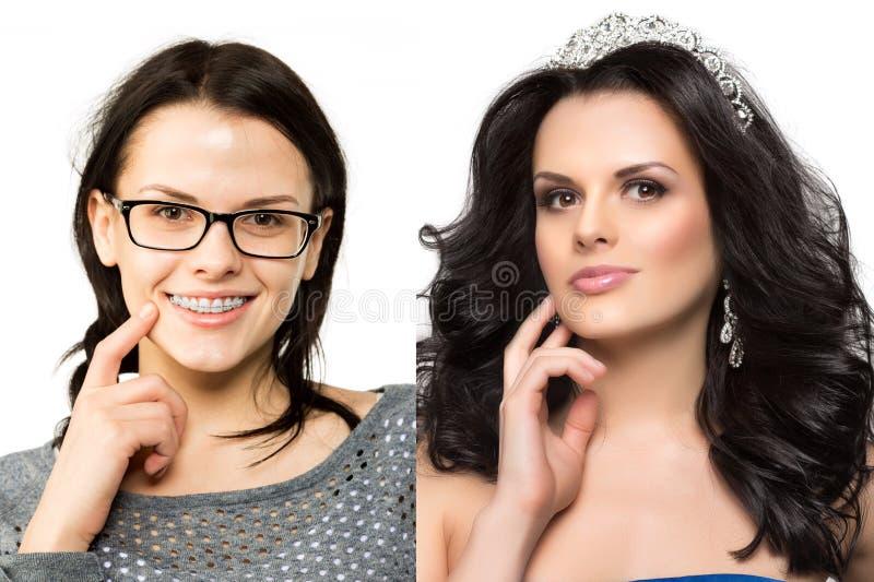 Prima dopo La ragazza del nerd si trasforma in un miss Anatra brutta Bellezza e successo Trasfigurazione dell'ordinario in un bea immagine stock libera da diritti