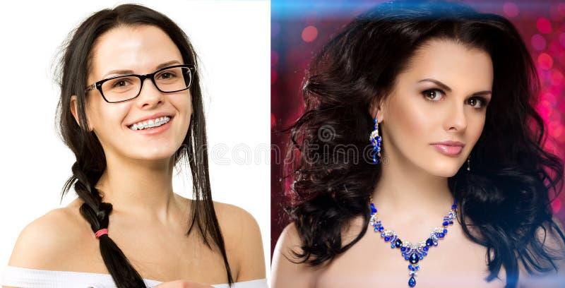 Prima dopo La ragazza del nerd si trasforma in un miss Anatra brutta Bellezza e successo Trasfigurazione dell'ordinario in un bea fotografie stock libere da diritti