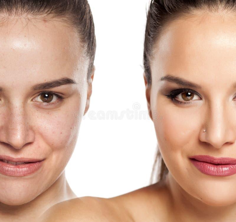 Prima e dopo componga fotografie stock