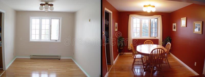 Prima e dopo di sala da pranzo immagine stock