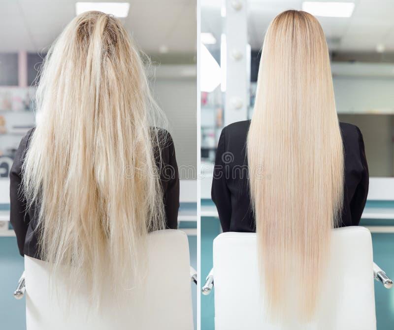 Prima e dopo il trattamento dello straightenin Cheratina malata, tagliata e sana di cura di capelli fotografie stock