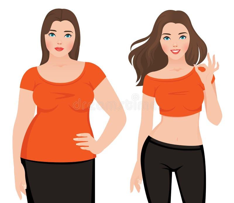 Prima e dopo la donna grassa ed esile di perdita di peso su un backg bianco illustrazione di stock