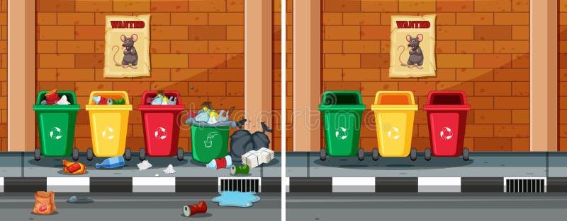 Prima e dopo la pulizia della via sporca illustrazione di stock